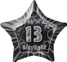 Black Glitz 'Happy 13th Birthday' Foil Balloon